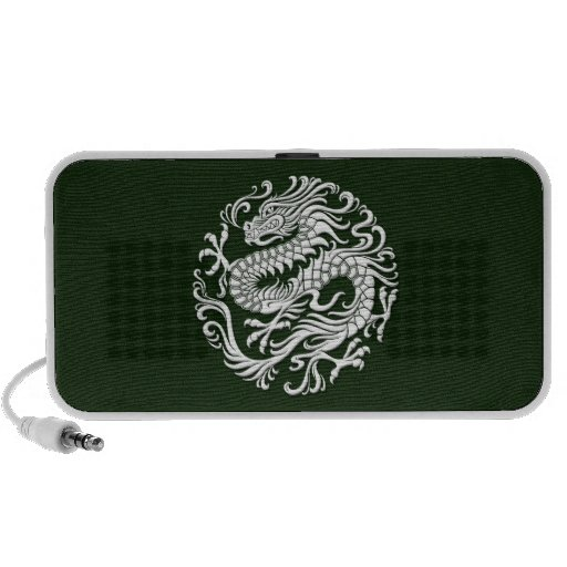 Círculo chino blanco y verde tradicional del dragó mp3 altavoces