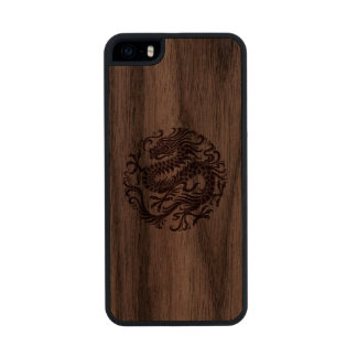 Círculo chino de madera tradicional del dragón funda de nogal carved® para iPhone 5 slim