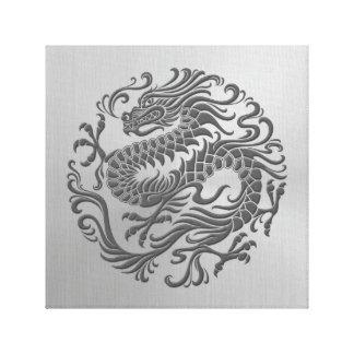 Círculo chino del dragón con efecto del acero inox impresion en lona