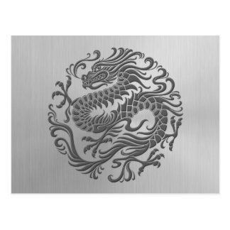 Círculo chino del dragón con efecto del acero inox postales
