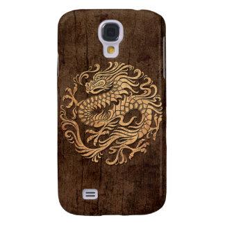 Círculo chino del dragón con el efecto de madera d funda para galaxy s4