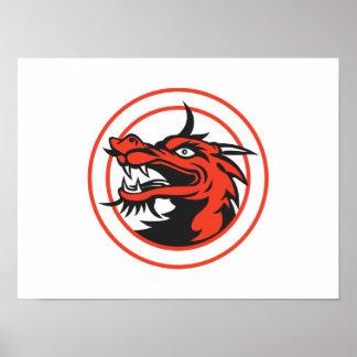 Círculo chino rojo de la cabeza del dragón poster