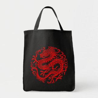 Círculo chino rojo tradicional del dragón bolsa tela para la compra