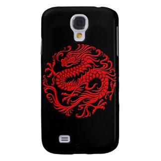 Círculo chino rojo y negro tradicional del dragón carcasa para galaxy s4