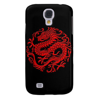 Círculo chino rojo y negro tradicional del dragón