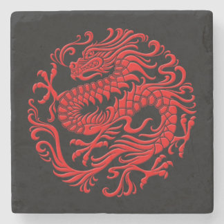 Círculo chino rojo y negro tradicional del dragón posavasos de piedra