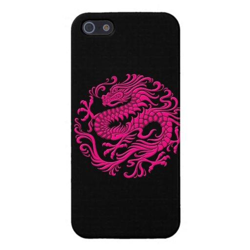 Círculo chino rosado y negro tradicional del dragó iPhone 5 fundas