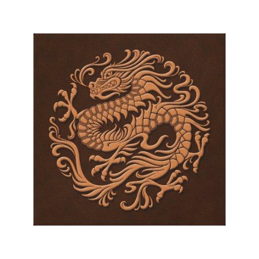 Círculo chino tradicional del dragón de Brown Lienzo Envuelto Para Galerias