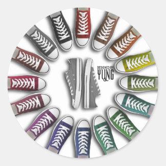 Círculo clásico de las zapatillas de deporte pegatina
