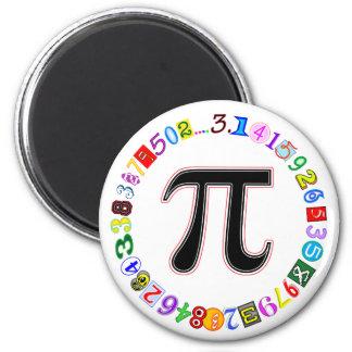 Círculo colorido y de la diversión del pi calculad imán redondo 5 cm