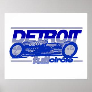 Círculo completo del coche de carreras del vintage posters