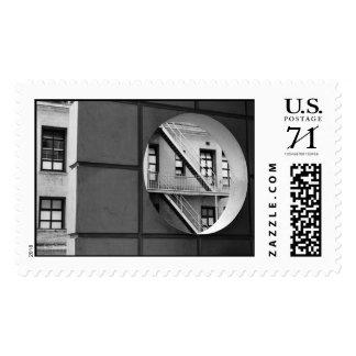 Círculo con la salida de incendios - grande timbre postal