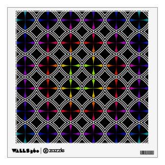 Círculo cruzado psicodélico del arco iris geométri vinilo adhesivo