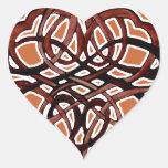 Círculo de Brown Knotwork Pegatina En Forma De Corazón