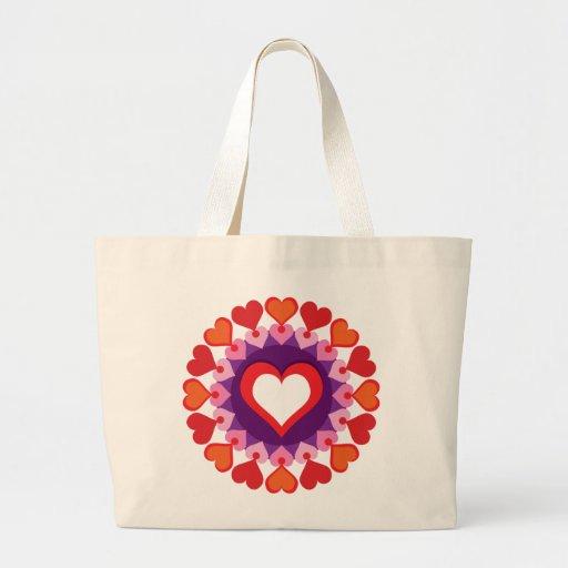 Círculo de corazones bolsa tela grande