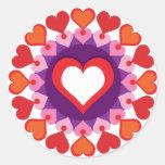 Círculo de corazones pegatina redonda