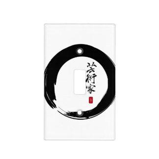 Círculo de Enso y caligrafía del artista Placa Para Interruptor