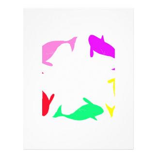 Círculo de la ballena de la orca en cinco colores tarjeton