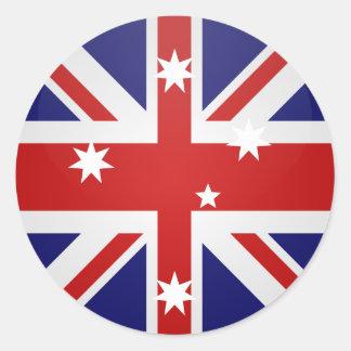 Círculo de la bandera de la calidad de Australia Pegatina Redonda