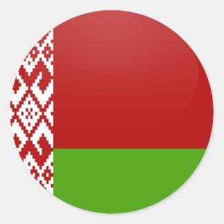 Círculo de la bandera de la calidad de Bielorrusia Pegatina Redonda