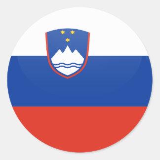 Círculo de la bandera de la calidad de Eslovenia Pegatina Redonda