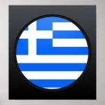 Círculo de la bandera de la calidad de Grecia Póster