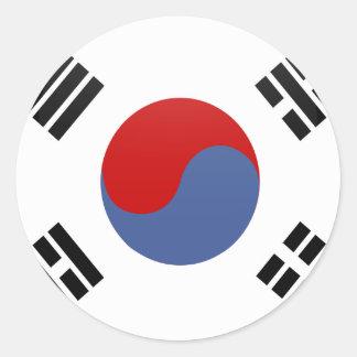 Círculo de la bandera de la calidad de la Corea Pegatina Redonda