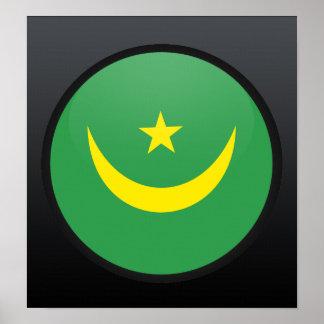 Círculo de la bandera de la calidad de Mauritania Impresiones