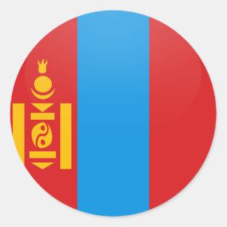 Círculo de la bandera de la calidad de Mongolia Pegatina Redonda
