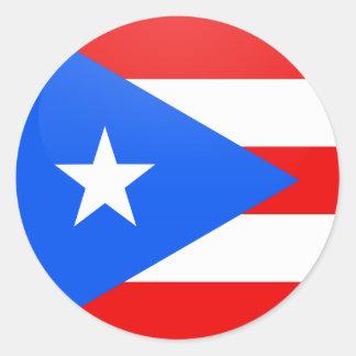 Círculo de la bandera de la calidad de Puerto Rico Pegatina Redonda