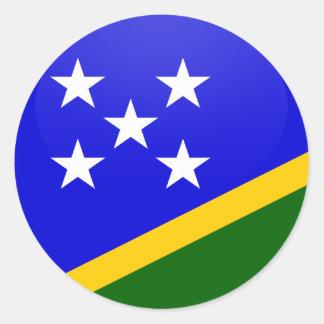 Círculo de la bandera de la calidad de Solomon Pegatina Redonda