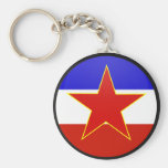 Círculo de la bandera de la calidad de Yugoslavia Llaveros Personalizados