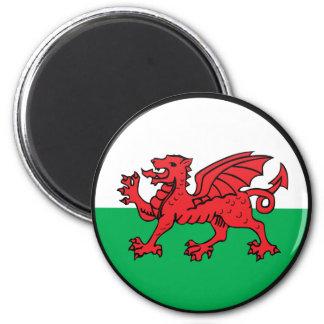 Círculo de la bandera de la calidad Galés Imán Redondo 5 Cm