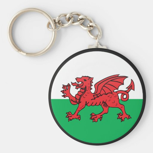 Círculo de la bandera de la calidad Galés Llavero Redondo Tipo Pin