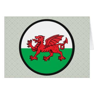 Círculo de la bandera de la calidad Galés Tarjeton