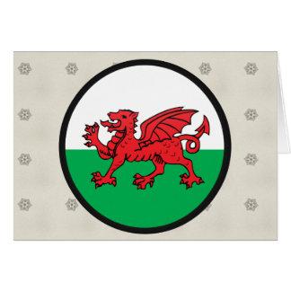 Círculo de la bandera de la calidad Galés Tarjetas