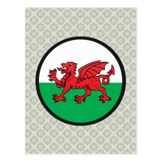 Círculo de la bandera de la calidad Galés Tarjetas Postales