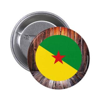 Círculo de la bandera de la Guayana Francesa en el Pin Redondo 5 Cm