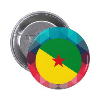 Círculo de la bandera de la Guayana Francesa en Pin Redondo 5 Cm