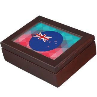 Círculo de la bandera de Nueva Zelanda en bokeh Caja De Recuerdos