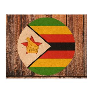 Círculo de la bandera de Zimbabwe en el fondo de Impresiones En Corcho