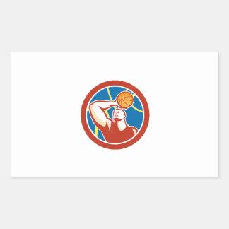 Círculo de la bola del tiroteo del jugador de rectangular pegatinas