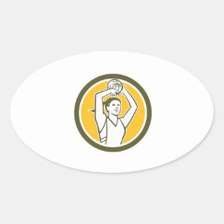 Círculo de la bola del tiroteo del jugador del pegatina óval