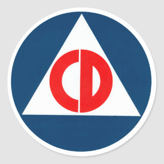 Círculo de la defensa civil pegatina redonda