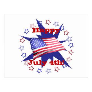Círculo de la estrella del Día de la Independencia Tarjetas Postales