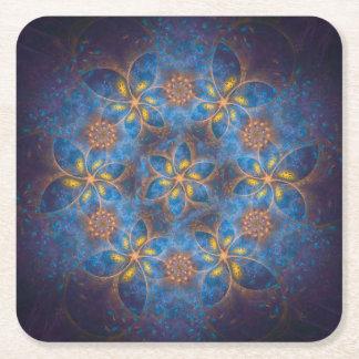círculo de la hoja del azul y de oro posavasos personalizable cuadrado