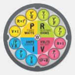 Círculo de la ley de ohmio pegatinas redondas