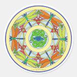 círculo de la libélula pegatina redonda