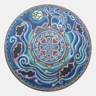 Círculo de la mandala del equinoccio de caída de pegatina redonda