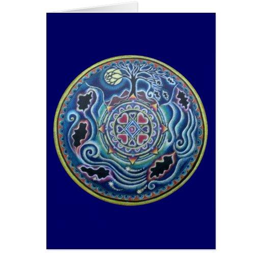 Círculo de la mandala del equinoccio de caída de tarjeta de felicitación